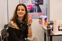 第10次国际纹身花刺大会的参加者在国会商展中心 免版税图库摄影