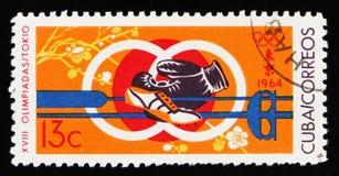第18次奥运会的标志在东京,大约1964年 库存照片