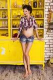 第7次月怀孕的美丽的深色的妇女在格子花呢上衣 库存图片