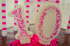 第10生日蛋糕装饰 免版税库存照片