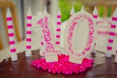 第10生日蛋糕装饰 免版税库存图片