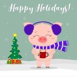 第2看板卡圣诞节计算机designe图象新年度 穿蓝色毛皮耳机和围巾的一头逗人喜爱的猪拿着一个杯子牛奶和姜饼干反对a 库存例证