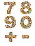 第7至0和由五颜六色的gla做的标点符号 图库摄影