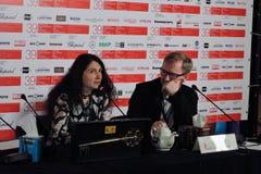 第39莫斯科国际影片竞赛公开` s挑选奖新闻会议  免版税库存图片