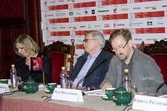 第37莫斯科国际影片竞赛新闻会议  免版税库存图片