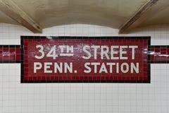 第34街道Penn驻地地铁中止- NYC 免版税库存照片