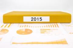 年第2015年,图表、图和企业年终报告 免版税库存图片