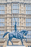 第1个英国伦敦理查雕象 免版税库存图片