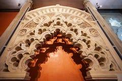 第11第20按照被恢复的伊斯兰宫殿经过多种的筑堡垒于的被安置的hud的aljaferia改变banu被建立的世纪世纪朝代是萨瓦格萨 免版税库存图片
