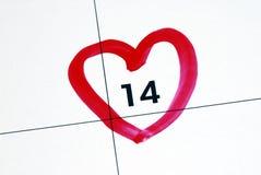 第14日2月标记s华伦泰 库存照片