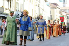第32,历史游行, Baradello Palio  图库摄影