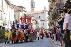 第32,历史游行, Baradello Palio  免版税图库摄影