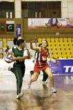第7个活动亚洲被弄脏的冠军少女玩的 图库摄影