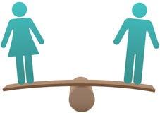 等于男女性别平等平衡 免版税库存图片