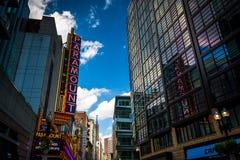 头等剧院,沿华盛顿街在波士顿, Massachuse 库存图片