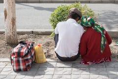 等待中国的夫妇被拾起 免版税库存照片