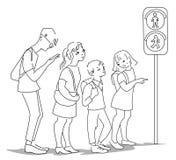 等待公共汽车的人们在公交车站在平的设计的城市 向量例证