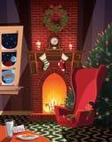等待圣诞老人的睡觉的孩子在圣诞节装饰的室 向量例证