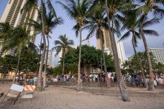 等待在威基基海滩的游人街道展示围拢的榕树 免版税图库摄影