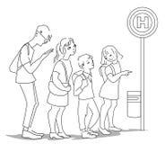 等待在平的设计的人们公共汽车 皇族释放例证