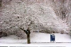 等待在雪的邮箱 库存照片