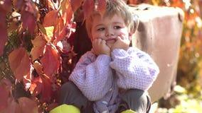 等待带着手提箱的可爱的男孩 小孩孩子或学龄前儿童孩子秋天的 葡萄酒衣裳的小和非常逗人喜爱的男孩 股票视频