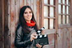 等待年轻女演员藏品戏院的板摄制 图库摄影