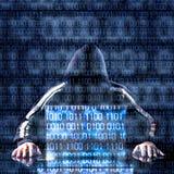 等待某事的黑客和膝上型计算机 免版税库存照片
