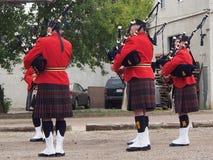 等待游行的RCMP吹笛者开始 免版税库存图片