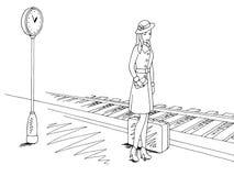 等待火车的女孩在火车站平台图表剪影例证传染媒介 库存例证