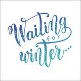 等待的冬天现代刷子书法字法  库存照片
