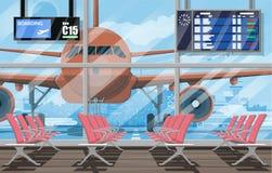 等待的大厅在机场passanger终端  库存例证