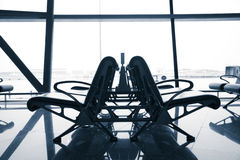 等待的椅子在机场,北京 库存图片