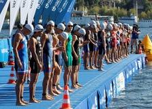 等待起动信号的男性游泳竞争者 库存照片