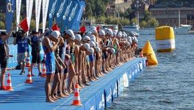 等待起动信号的男性游泳竞争者 免版税图库摄影