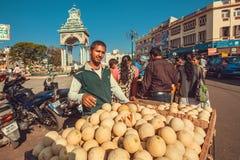 等待顾客的水果和蔬菜卖主和贸易的瓜在街市上 库存图片
