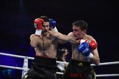 等级拳击战斗在体育宫殿,基辅 图库摄影