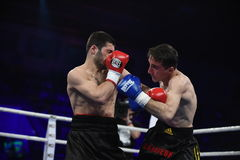等级拳击战斗在体育宫殿,基辅 库存照片