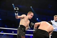 等级拳击战斗在体育宫殿  免版税库存照片