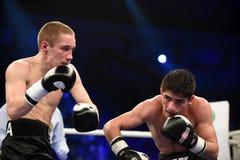 等级拳击战斗在体育宫殿  库存照片