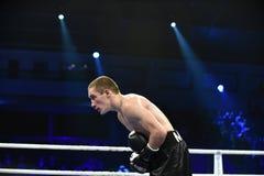 等级拳击战斗在体育宫殿  库存图片