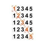 等级规定值的形象、与框架的数字或力量 库存照片