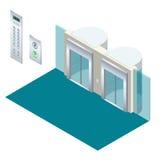 等量与现代风格推力大厅的传染媒介电梯推力等量内部 免版税库存图片
