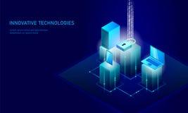等量互联网安全锁企业概念 蓝色发光的等量个人信息数据连接个人计算机 库存照片