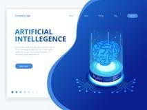 等量人工智能企业概念 技术和工程学概念,数据连接个人计算机智能手机 皇族释放例证
