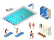 等量传染媒介套游泳池,游泳者,在健身房、衣物柜和更衣室元素象的阵雨 健康 免版税库存图片