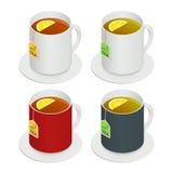 等量传染媒介套多彩多姿的陶瓷杯子用茶和一个片断柠檬在白色背景 饮料现代传染媒介 免版税库存图片