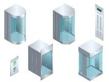 等量传染媒介玻璃未来派圆柱形形状电梯或推力等量内部与现代风格推力 库存图片