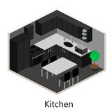 等量内部现代厨房 库存图片