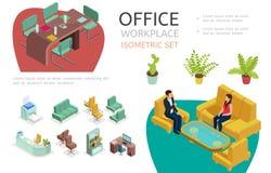 等量办公室内部元素集 向量例证